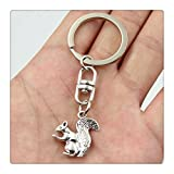 Fashion Car Keychain Silver Color Metal Key Chains Accessory, Vintage squirrel Key Rings