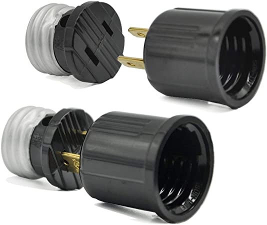 Light Bulb Socket To Outlet Adapter Plug In Light Socket Kit Us Regular Screw Black Socket Extender Lamp Holder Handy Outlet Adapter No Wiring Need