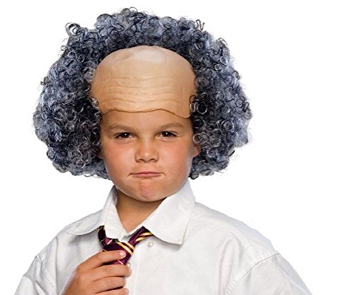 Kids Bald Wig With Curly Sides (Funny Bald Man Wig Mad Scientist Curly Hair Sides Children'S Costume Accessory)