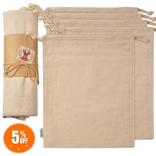 Organic Cotton Produce Bags, Large Reusable Canvas Muslin Storage and Organizing Drawstring Fabric Bag for Shopping, Laundry, Grocery, Vegetable, Gift & More, 5 Bulk Washable 11.5 x 13.5 Inch -