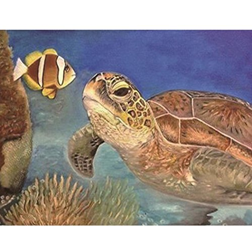 (Vacally 5D DIY Diamond Painting ,Diamond Painting By Number Kits for Adults Full Square Drill Rhinestone Embroidery for Wall Decoration,Turtle And Fish)