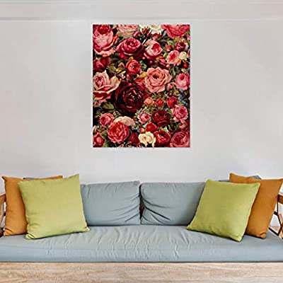 Paint by Number for Adults Beginner Child Kids DIY Flowers Linen Canvas Wall Art Gifts Home House Decor (Multicolor): Toys & Games