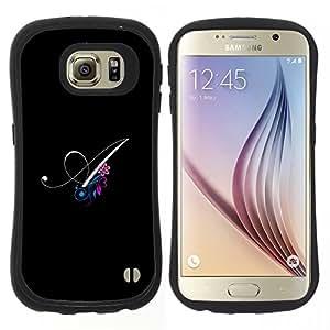 """Pulsar iFace Series Tpu silicona Carcasa Funda Case para Samsung Galaxy S6 , Negro Iniciales de la letra de la caligrafía del texto"""""""