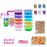 DIY Slime Kit Supplies Including Storage Containers,Fluffy Slime,Glitter,Colorful Foam balls and Beads for Making Art Craft