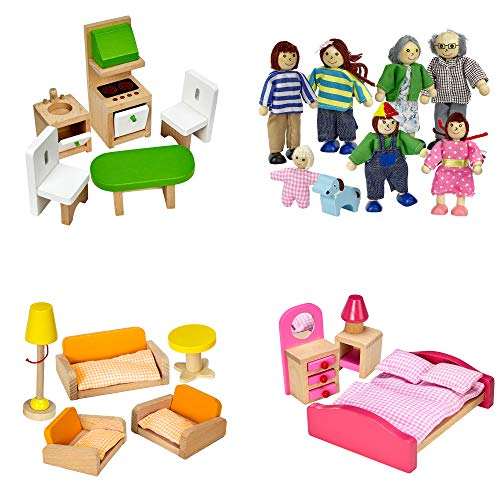 Dragon Drew Dollhouse Furniture Set - Wooden - Living Room, Bedroom and Kitchen Accessories, Family Members, Pet - 100% Natural Wood, Nontoxic Paint, Smooth Edges