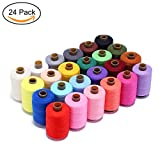 Candora Wholesale Sewing Thread Coil 24 Color 1000 Yards Each Polyester All Purpose for Hand and Machine Sewing