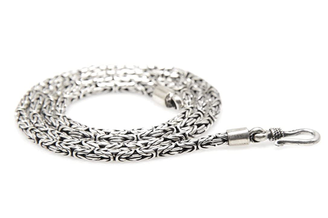 Amazon.com: 925 Sterling Silver Byzantine Chain Necklace Handmade in Bali  2.5 mm (18): Jewelry
