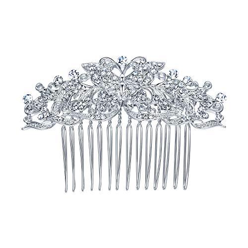 EVER FAITH Wedding Butterfly Wave Hair Comb Clear Austrian Crystal Silver-Tone (Butterfly Wedding)