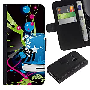 KingStore / Leather Etui en cuir / Samsung Galaxy S3 MINI 8190 / Pop Art Graffiti Bleu Police