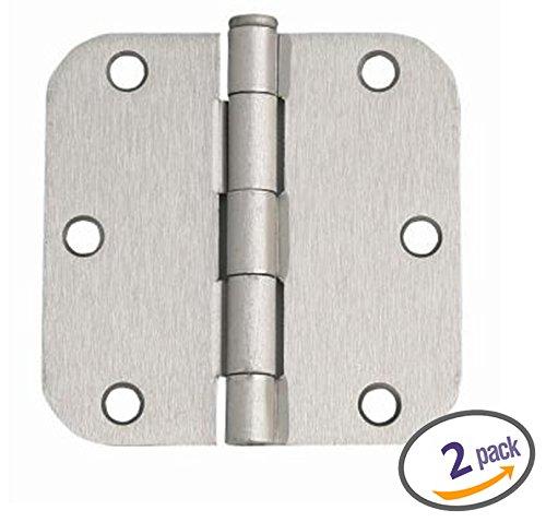 Dynasty Hardware 3-1/2' Door Hinges 5/8' Radius Corner, Satin Nickel, 2 - Pack