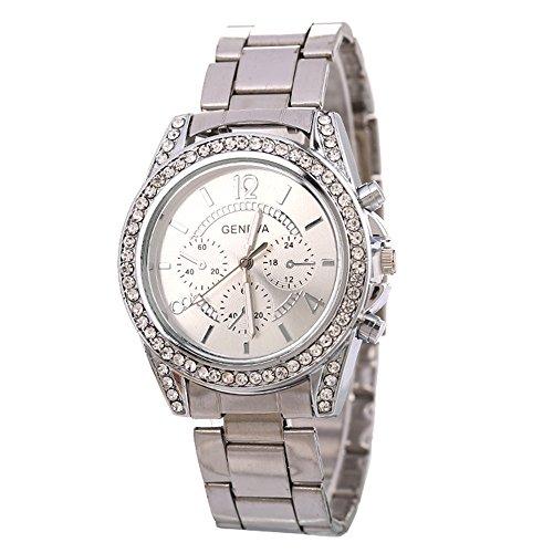 Watch Daoroka Fashion Geneva Ladies Women Girl Unisex Stainless Steel Quartz Wrist Watch Jewelry Gift (Sliver)