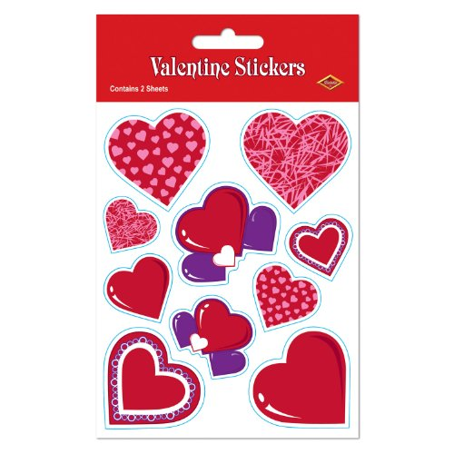 Valentine Stickers Party Accessory (1 count) (4 Shs/Pkg) (Chichi Costume)