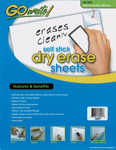 Pacon GoWrite! Dry Erase Self-Adhesive Sheets, 8 1/2 inches by 11 inches, White, 30 Sheets (ASB8511)