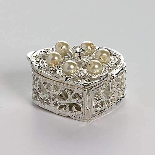 Silver Plated Heart Shaped Arras Chest with Pearls - COFJC009 - Arras de Boda - Unity Coin Holder - Wedding Coin Box - Arras de Matrimonio - Cofre de Boda - Jewelry Box & Ivory Organza Bag Included ()