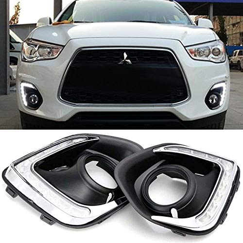 iJDMTOY Xenon White LED Daytime Running Lights For 13-15 Mitsubishi Outlander Sport, (2) OEM Fit DRL Bezel Assembly Each Powered by 9 Pieces High Power LED -