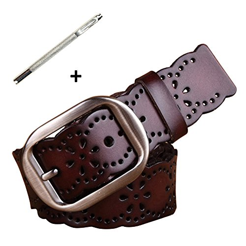 Belt Leather Soft Cinch - NormCorer Women's Hollow Out Genuine Leather Alloy Buckle Belt for Jeans (45.28