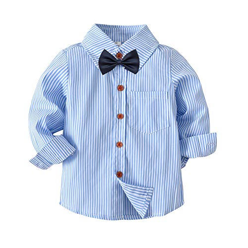 2t 3t 4t 5t 6t Boys' Uniform Solid Blue Long Sleeve Button Down Stripe Oxford Dress Shirt with Bowtie Size 6-7Y ()