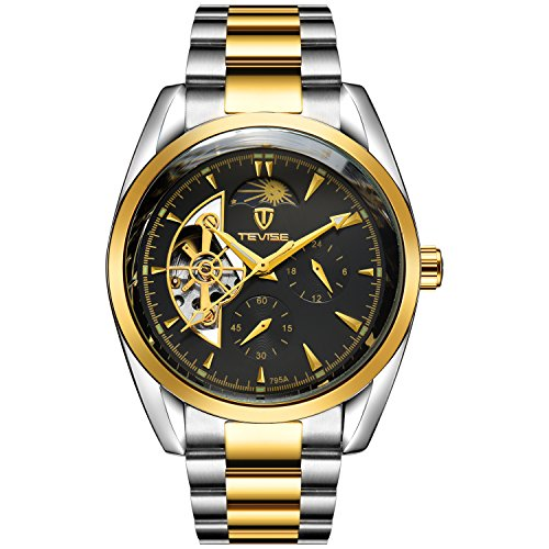 TEVISE Men's Fashion Casual Stainless Steel Automatic Wrist Watch Black Dial Silver and Golden Band