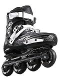 Inline Skates For Men Unisex Racing PP Material 3D Aluminum Alloy Bracket PVC High Elasticity PU Wheels Black-White , 43