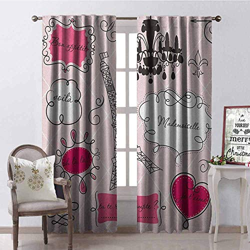 GloriaJohnson Teen Room 99% Blackout Curtains Doodle Frames in French Style Rococo Baroque Lantern Mademoiselle Print for Bedroom- Kindergarten- Living Room W52 x L72 Inch Hot Pink and Black (Mademoiselle Wall Light One)