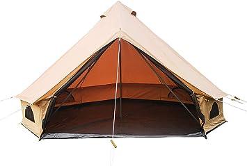 Amazon | 高級防水リップストップポリエステル綿素材ファミリーキャンプリゾートベルテント (カーキ, 直径4メートル) | Cozy house  | テント本体