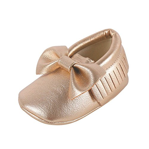 Weixinbuy Baby Boys Girls Soft Soled Tassel Bowknots Crib Shoes PU Moccasins Gold Size (0-6 Months/4M-4.5M/4.53inch)