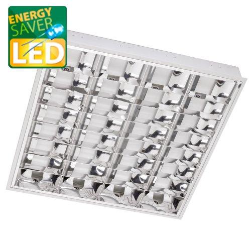 LED Rasterleuchten, incl. LED Röhren aus Echtglas, 4x10W, 62x62 cm, Bürolampe, LED Rasterlampe, Einlegeleuchte für Odenwald o.ä.