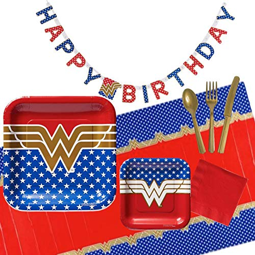 Wonder Woman Birthday Party Supplies for 16 Guests - Plates, Tablecover, Banner, Cutlery, Napkins