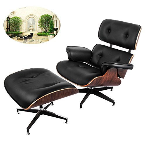 Happybuy Mid Century Lounge Chair and Ottoman Set 7-ply Walnut Laminated Veneer Style Lounge Chair Ottoman High-elastic Polyurethane Foam Cushions Office Lounge Chair W/ Cast Aluminum Base - Eames Lounge Chair