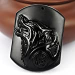 c1lint7785631 Pure Natural Obsidian Pendant Necklace Obsidian Crystal Pendant Necklace Pattern with Extend Bead Chain for Men or Women Wolf Head Lion