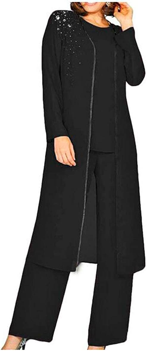 3 PC Mother of The Bride Pants Suit for Wedding Long Lace Jacket Chiffon Women Outfits for Prom Evening