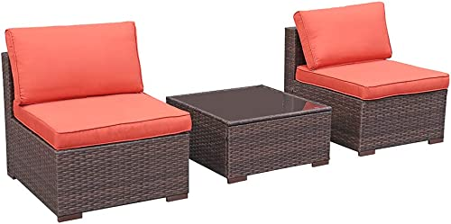 OC Orange-Casual 3 Piece Patio Sectional Furniture Set Outdoor Armless Chair Loveseat Wicker Sofa Coffee Table