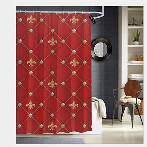 "Puloa Vintage Fleur De Lis On Deep Rich Red Pattern Shower Curtains with 12 Hooks,Durable Bathroom Curtain 72"" x 72"""