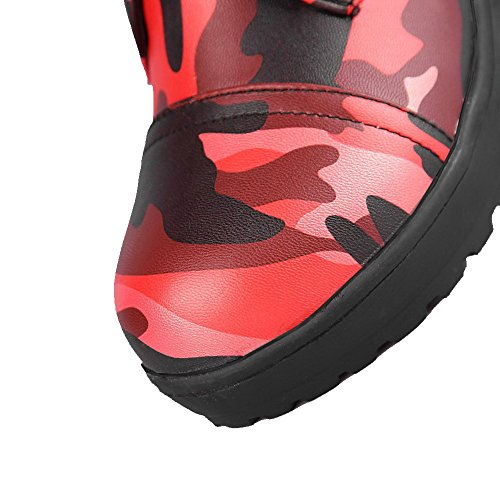 AmoonyFashion Womens Kitten-Heels Round Closed Toe Soft Material Lace-up Boots Red uA3Rzt1SfP