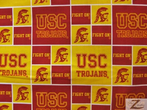 NCAA COLLEGE PRINT COTTON FABRIC - USC Trojans - 45