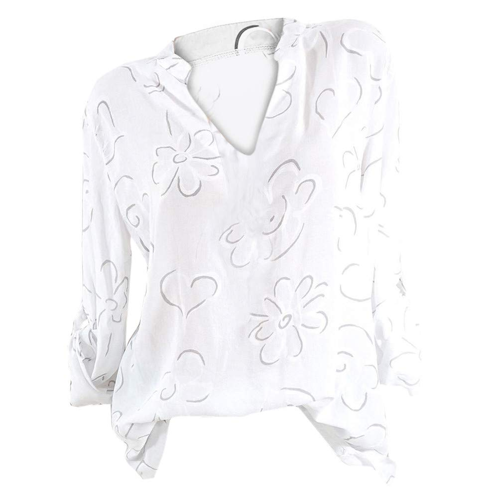 Women Shirt Long Sleeve V Neck Plus Size Print Casual Tunic Tops Blouse (XXXXL, White)