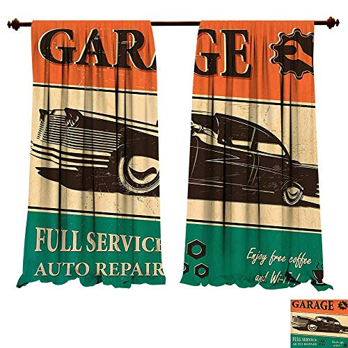Thermal Insulating Blackout Curtain Vintage Garage Retro Poster with Classic Car Automobile Mechanic Nostalgic 50s Orange Beige Jade Green Patterned Drape For Glass Door (W72 x L72 -Inch 2 Panels) ()