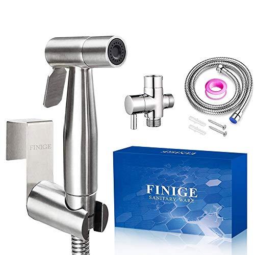 FINIGE Handheld Bidet Sprayer for Toilet Cloth Diaper Sprayer (Two Ways to Mount) Portable Pet Shower Toilet Water Sprayer Seat Bidet Attachment Bathroom Stainless Steel Spray for Personal Hygiene ()