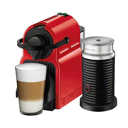 Cafetera Nespresso Inissia con Espumador de leche, Color Roja. (Incluye obsequio de 14 cápsulas de café)