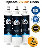 water filter 04609690000p - 3 PACK - LG LT700P Compatible Refrigerator Water Filters - LG Water Filter Comparable Replacements for LT700P, ADQ36006101, Kenmore 46-9690, NSF 42 Certified