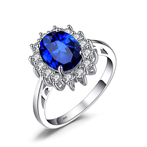 JewelryPalace Princess Diana William Kate Middleton's 3.2ct Created Blue Sapphire Engagement 925 Sterling Silver Ring Size 10 Dark Blue Sapphire Ring