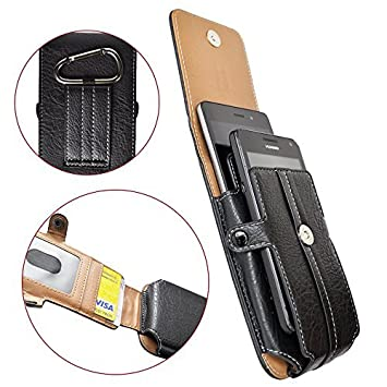 latest design amazing selection new high quality Universel Housse Étui pour Smartphones avec clip de ceinture Pochette  vertical avec emplacements pour deux téléphones jusqu'à 4.7 pouces NOIR