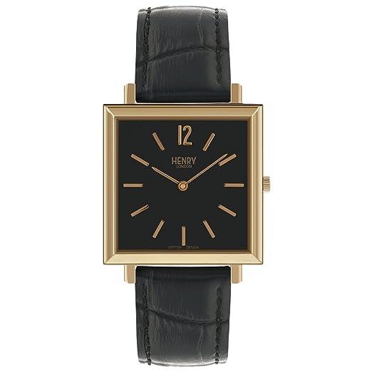 Henry London Reloj Analógico para Mujer de Cuarzo con Correa en Cuero 5018479086406: Amazon.es: Relojes