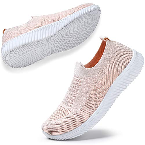 HKR Walking Shoes for Women Lightweight Mesh Knit Slip On Sneakers Summer Breathable Washable Washable 6 US Pink(WD003fense36)