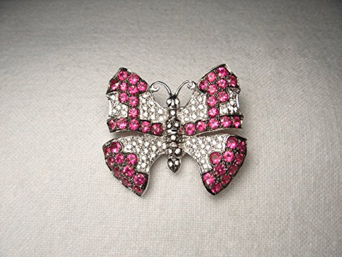 Gorgeous Estate 18K White Gold Ruby Pave Diamond Butterfly Brooch Pin by GEMSforyou
