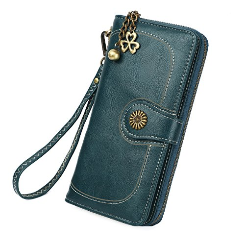 Green Expandable Wallet (Zg Plenty Roomy Zip Around Wallet Clutch Purse with Tassel and Strap - Green)