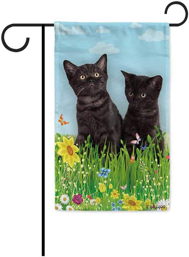 BAGEYOU Hello Spring Floral with My Love Cat Black Kitties Garden Flag Summer Flower Home Decor Yard Banner for Outside 12.5 x 18 Inch Printed Double Sided
