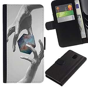 """A-type (Geometría Galaxy"""") Colorida Impresión Funda Cuero Monedero Caja Bolsa Cubierta Caja Piel Card Slots Para Samsung Galaxy Note 3 III"""