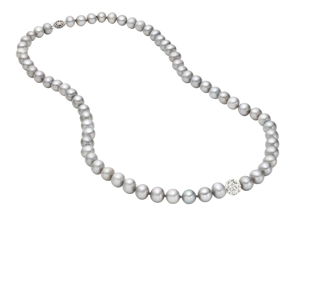 Sterling Silver Dyed-grey Freshwater Cultured AA Quality Pearl with Crystal Ball Necklace 18'' Special Offer