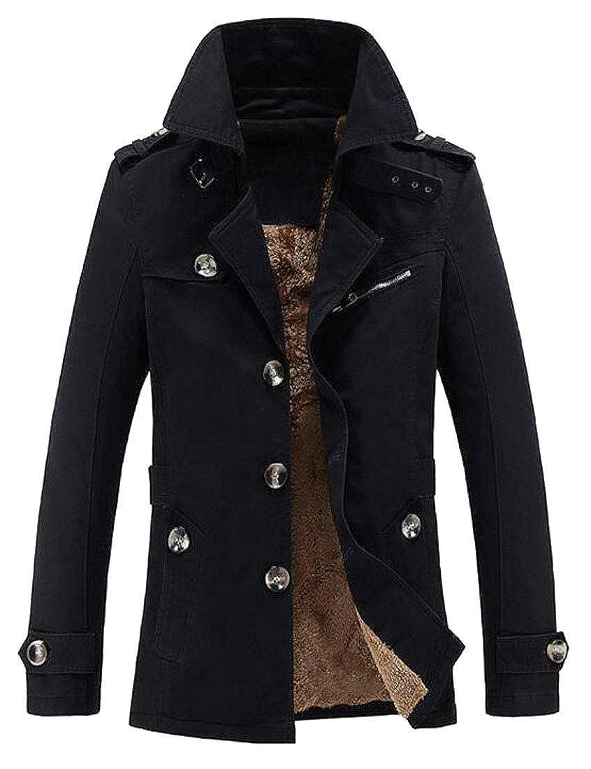 WSPLYSPJY Men Notch Lapel Single Breasted Fleece Lined Trench Coat